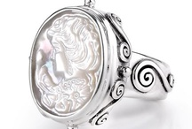 Sara Blaine Cameos Collection / The Cameos Collection, designed by Sara Blaine is all sterling silver with White Mother of Pearl Carved Cameos.