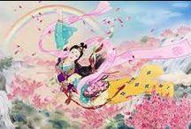 HARUYO MORITA / Muchas de las pinturas de Haruyo provienen de su profundo aprecio por el estilo, la extravagancia y el drama del teatro Kabuki. Así, para apreciar de verdad y disfrutar del arte de Haruyo una comprensión de algunas de las características especiales de Kabuki es necesario. Haruyo misma entrenado durante muchos años como un pintor kimono bajo escolarización riguroso.