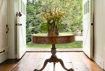 Make an Entrance / Foyers--ideas, colors, furniture arrangement, chandeliers