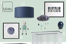 Baby Boy Nursery Inspiration / Modern nursery design and ideas // gray walls with navy, mint and gold accents