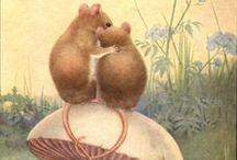 Vintage - The Children Books / Posters, Illustrations, Postcards Kids, Pets, Forest Magic
