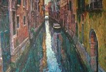 """London & Venice cityscape paintings / """"China Town"""" Acrylic on canvas 30""""x20""""  Hash Akib £795 at McNeill Gallery"""