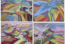 Claris Cliffe in art / 4x4 canvas paintings by Georgie Cowan - Glasgow School Art