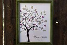Boho Wedding Guest Book / fingerprint tree guest book