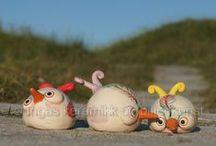keramikk småskulpturer / småfulgler ca 15 cm i diameter