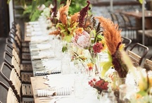 Long Table Inspiration / Interesting centrepieces set on long tables for events.