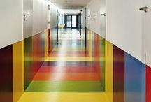 Kid-Friendly Flooring Ideas / Flooring ideas for schools and kid-friendly places.  Soft textures or fun colorful designs.