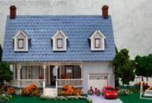 """Dollhouse 1/4 Scale Miniature - Grayson's Cape Cod / This quarter scale or 1/4, or 1/48 house measures 11""""W x 5.75""""D x 9.25""""H, with five rooms, and garage."""