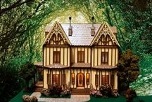 """Dollhouse-Quarter Scale Miniatures-Mayfield Manor / My first Tudor styled house.  I was very please with the final results. The house measures 12""""W x 6""""D x 10""""H, and has nine rooms. The ceiling height for the rooms are 2 7/8"""","""