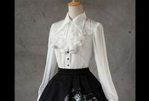 "Lolita Blouse / Sweet Lolita blouses come mostly in white, pink, light blue colors, and features around the large use of round corner, elegant lace, bows and ruffles. Although the shirts are labeled as ""sweet"", they are easy to go with other Lolita fashion styles too, such as country lolita jumper, or skirts."