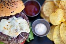 The Art Burgers / You can choose from  a succulent free range beef burger,  a delicious free range chicken burger,  a veggie chickpea and feta cheese burger,  a veggie black bean burger,  a vegan lentils burger or various fish burgers
