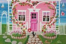 """Cottage on """"Valentine's"""" Lane ♥ / Cute Valentine heart home décor in Red, White and Pink. / by Michelle Sousa"""