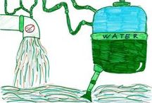 """Children drawings / We asked a class of 12-years-old children to draw a picture about a wastewater treatment plant...we were not surprised they imagined it as a """"black box""""... After a site visit to an Organica treatment plant, they gave us very different drawings...very proud of them :)"""