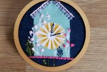 Embroidery on printed fabric / Pieces of printed fabric embellished with embroidery stitches