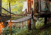 "Tree house / ""A tree house, a free house, A secret you and me house, A high up in the leafy branches Cozy as can be house. A street house, a neat house, Be sure to wipe your feet house Is not my kind of house at all-  Let's go live in a tree house."""