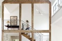 inspiring interiors / decorating with black- white-natural wood-stone