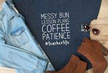 Teacher Outfits / Outfits for teachers or educators. Ideas for casual and work day dress. Fun teacher t-shirts and quotes.