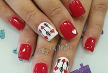Valentines nails / For all nail polish addicts! Hearts, pink, red, flowers, love, nail art. Everything #Valentines