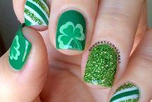 St. Patrick's Day Nails / St. Paddy's day nail art, nail art supplies , green nails, gold nails, black nails, leprechauns, shamrock, pot of gold, rainbows