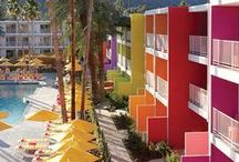 Travel. Palm Springs / Tutti frutti hues, flat top roofs and a guaranteed cocktail hour at the end of the day. Palms. Springs. Sprung. We're In!
