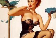 Vintage 1950s Pinup Girls in Corsets / Vintage 1950s Pinup Girls in Corsets