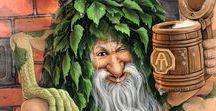 Bannik / Le bannik est l'esprit des bains dans la mythologie slave. Il élisait domicile dans la petite maisonnette adjacente à l'isba où les habitants venaient prendre leur bain. La pièce qui lui servait de domicile était dénuée d'images chrétiennes.  Il était de bon ton de laisser un peu d'eau pour le bannik après son bain. Après trois séries de baigneurs il réservait la pièce pour lui-même et agressait quiconque venait le déranger. (wikipedia)