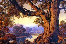 Maxfield Parrish / Maxfield Parrish (1870 - 1966) was an American painter and illustrator. Born Frederick Maxfield Parrish in Philadelphia, Pennsylvania, he began drawing for his own amusement early in his life. He went on to pursue a career that was to last for many decades and effectively shape the Golden Age of Illustration, and the future of American visual art in general. Launched by a commission to illustrate Kenneth Grahame's The Walls Were as of Jasper in 1897, his repertoire was to include many prestigious projects such as Eugene Field's Poems of Childhood (1904) and the traditional Arabian Nights (1909).