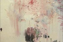 """Cy Twombly / Edwin Parker """"Cy"""" Twombly Jr. (April 25, 1928 – July 5, 2011) was an American painter, sculptor and photographer. He belonged to the generation of Robert Rauschenberg and Jasper Johns but chose to live in Italy after 1957.   His paintings are predominantly large-scale, freely-scribbled, calligraphic and graffiti-like works on solid fields of mostly gray, tan, or off-white colors. Many of his works are in the permanent collections of most of the museums of modern art around the world. Wiki"""