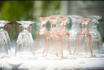 Sparkling Vintage Glassware / The sparkle on the vintage table is the beautiful vintage glassware of amber, green, blue, pink, white and clear.  Southern Vintage Table has a great collection and here's the proof!