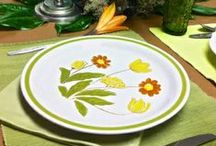 Vintage Wildflower Stoneware / The 80s dinner table was set with the fashionable now-vintage stoneware from Japan.  Mostly adorned with wildflowers, this festive genre of vintage china looks terrific mixed and matched on the same table and would be perfect for a rustic wedding, reunion, cookout or even an office luncheon!  Southern Vintage Table has vintage placemats, accessories, stainless steel flatware and green/gold goblets to complete the vintage look!