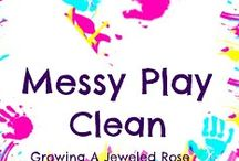 Keeping Messy Play Clean / Tips and tricks for messy play, art & craft organisation ideas, how to keep messy play clean etc.