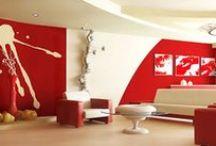 Czerwone inspiracje - okna, dekoracje, ściany, meble / Red interior design furniture, walls, window decor, blinds,