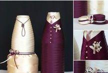 Бутылки / Свадебное шампанское. Чехлы на бутылки. Одежда для бутылок