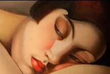 """Tamara de Lempicka / Tamara de Lempicka, born Maria Górska in Warsaw, Poland...May 16, 1898. She had a distinctive and bold artistic style. Influenced by what Lhote sometimes referred to as """"soft cubism"""" and by Maurice Denis' """"synthetic cubism"""" and epitomized the cool yet sensual side of the Art Deco movement. For her, Picasso """"embodied the novelty of destruction"""". She thought that many of the Impressionists drew badly and employed """"dirty"""" colors. De Lempicka's technique would be novel, clean, precise, and elegant."""