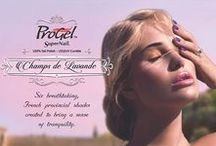 """ProGel - Champs de Lavande / Find peace and calm with this ethereal palette of ProGel 100% pure gel polish in six shades of """"Champs de Lavande"""".  Surrender to the wistful hues of Lilac Lumière, Bloom N' Beauty, Ethereal Sky, Soul of Provence, French Amethyst, and Periwinkle Perfection."""