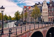 Travel, Netherlands / Amsterdam / Buildings / Streets / Canals