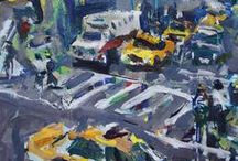 Abstract Cityscape Paintings By Robert Joyner / Abstract Cityscape Paintings By Robert Joyner created with acrylics and mixed media on paper & canvas.