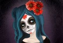 Día de muertos / Día de Muertos (Day of the Dead) is a Mexican holiday celebrated throughout Mexico and around the world in other cultures. Traditions include building private altars honouring the deceased using sugar skulls, marigolds, and the favourite foods and beverages of the departed and visiting graves with these as gifts.