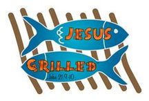 """Jesus Grilled / """"When they got out on land, they saw a charcoal fire in place, with fish laid out on it, and bread. Jesus said to them, """"Bring some of the fish that you have just caught."""" -- John 21:9-10 #JesusSurfedApparelCo #JesusSurfed #JesusGrilled #ChristianClothing #SpreadTheWord  www.JesusSurfed.com"""