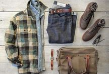 His Style / Casual Men's style featuring plaid, denim, leather and wool.