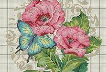 Haft krzyżykowy Kwiaty, Motyle, Ptaki.