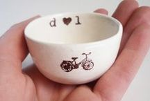 Bicycle themed artwork / This is a collection of bicycle themed artwork.   Ceramic dishes by Elycia Camille. Find them at www.elyciacamille.etsy.com or http://www.ebay.com/usr/elyciacamille. These miniature ceramic dishes are great  -ring dishes -candle holders -pill or vitamin holders -air plant planters -hummus, salsa, ranch or ketchup bowls -salt, pepper, butter, herbs or spice dishes