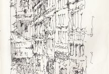 Architecture sketch, drawings, paintings