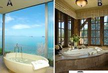 Banheiros / Salas de Banho / Banheiros, salas de banho e lavabos, tipos chuveiros, banheiras, ... Chuveiros ao ar livre, banheiros ao ar livre..