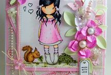 Colored Images Cards - Girls - Boys - Animals - Flowers / Cards using stamp girls or boys.