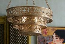 Moorish Decor: Chandeliers / An exotic chandelier can be the focal point of an exotic home and its scale can command attention when you enter a room.  Moorish-inspired chandeliers made from brass, copper and pierced metal, add a Moroccan feel to the room, whilst black and gothic inspired chandeliers add a touch of mystique and drama.  Crystal chandeliers are always a timeless classic.
