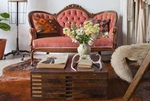 interiors / living room / Interior design of rustic and vintage living rooms. Home decor.