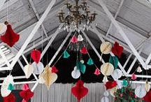 Paper Party Decorations / Everybody is gone Pom Pom crazy! Here is a collection of all retro paper hanging party decorations we love. Create height, depth and elegance in any space for weddings and all special occasions with hanging honeycombs and pom poms.