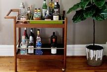 home bar / Create a practical and beautiful bar cart with delightful at-home bar accessories and design ideas with napkins, glasses, drink recipes, and more!