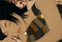 Ikenaga Yasunari / Born in 1965, Yasunari's serene & soothing portraits of modern women evoke a dreamy nostalgia through their faded golden hues and elegant floating poses. Yasunari continues the ancient tradition of Nihonga painting while simultaneously bringing modern elements to play, such as present-day clothing styles and floral textile designs. The result is both beautiful and melancholy, capturing the timelessness of the Nihonga style as well as its dimming presence through the years.